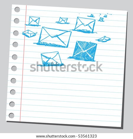 Scribble post letters - stock vector