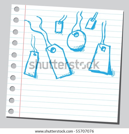 Scribble price tags - stock vector
