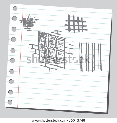 Scribble prison bars - stock vector