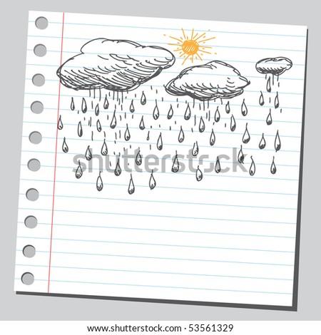 Scribble rain - stock vector