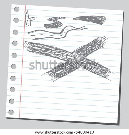 Scribble roads - stock vector