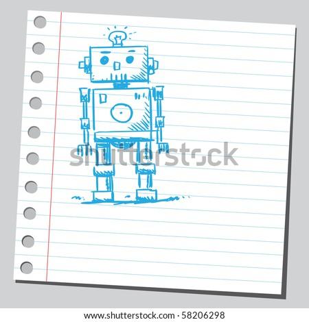 Scribble robot - stock vector