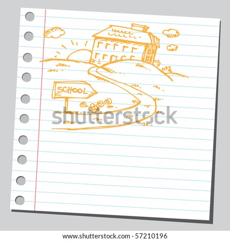 Scribble school on a hill - stock vector