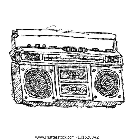 scribble series - boombox - stock vector