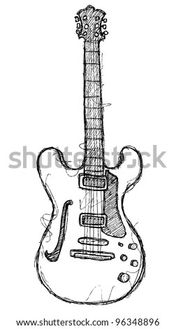scribble series - guitar - stock vector