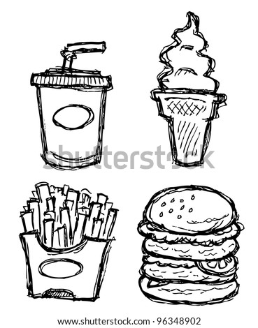 scribble series - junk food - stock vector
