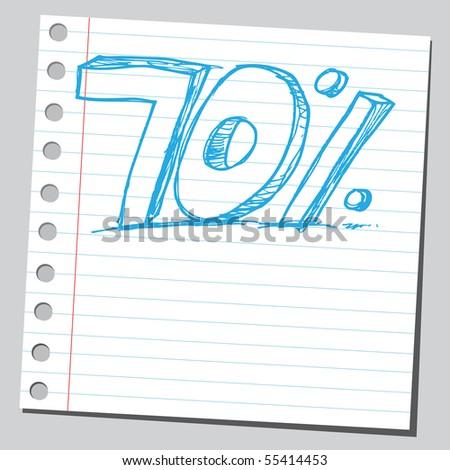 Scribble seventy percent - stock vector