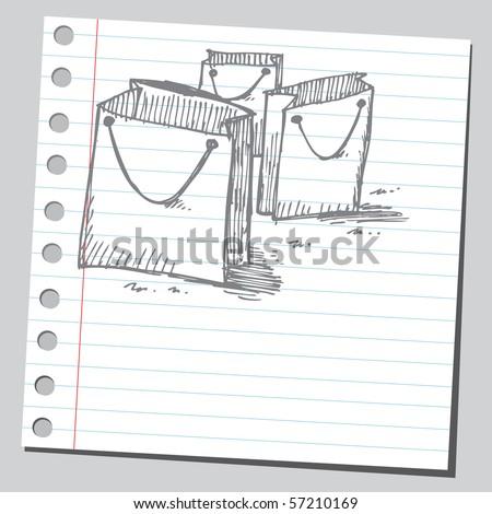 Scribble shopping bags - stock vector
