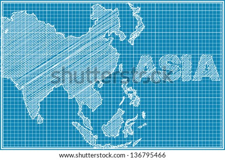 scribble sketch of Asia map on blueprint - stock vector