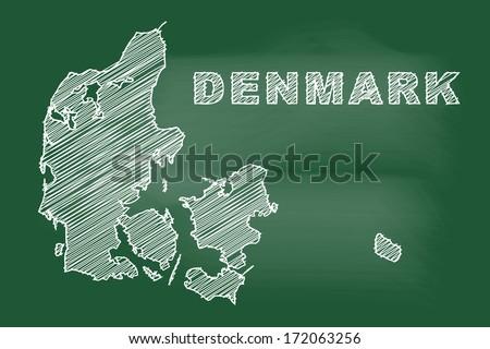 scribble sketch of Denmark map on blackboard - stock vector