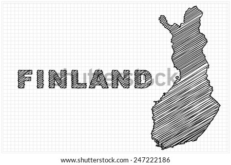 scribble sketch of Finland on grid,Vector illustration. - stock vector