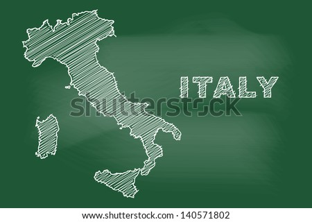 scribble sketch of Italy map on blackboard - stock vector