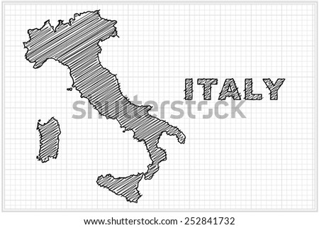 scribble sketch of  Italy map on grid,Vector illustration. - stock vector