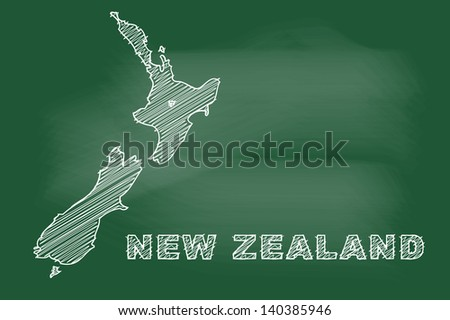 scribble sketch of New Zealand map on blackboard - stock vector