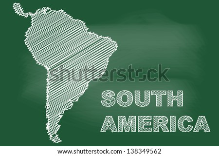 scribble sketch of South America map on blackboard - stock vector