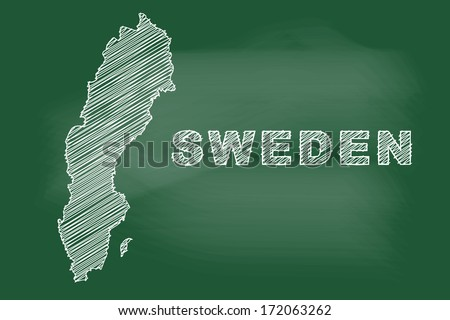 scribble sketch of Sweden map on blackboard - stock vector