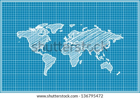 scribble sketch of World map on blueprint - stock vector
