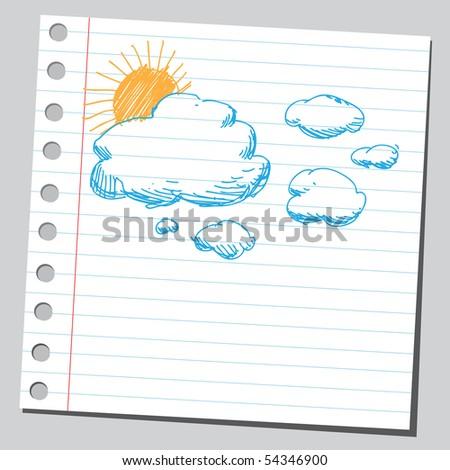 Scribble sky - stock vector