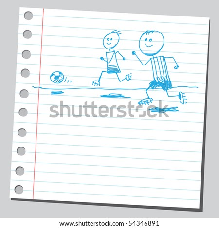 Scribble soccer players - stock vector