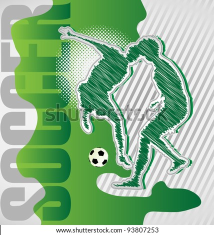 Scribble Soccer Poster - stock vector