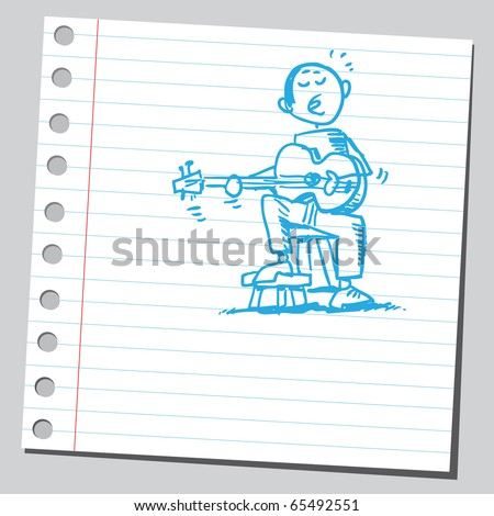 Scribble style illustration guitarist - stock vector