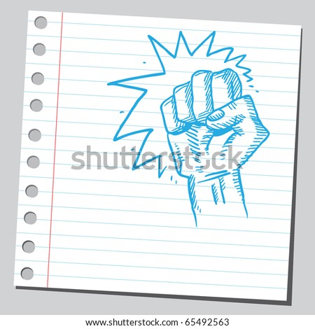 Scribble style illustration of a strong fist symbol - stock vector