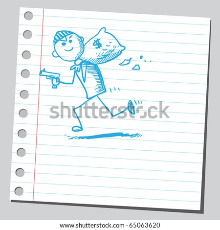 Scribble thief - stock vector