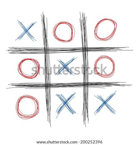 Scribble tic tac toe illustration - stock vector