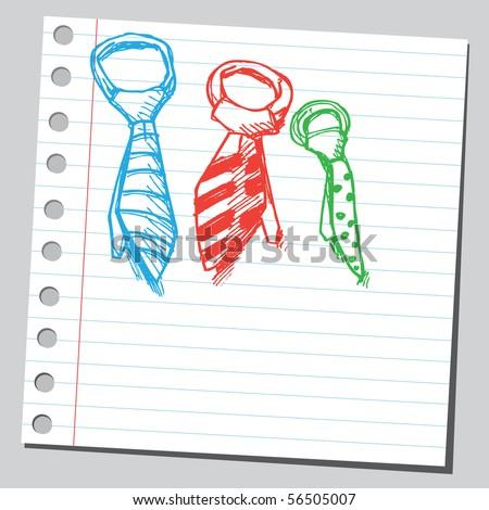 Scribble ties - stock vector