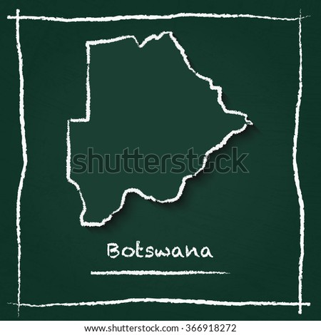 Scribble vector map of Botswana hand drawn with chalk on a green blackboard. Chalkboard map drawing in childish style. White chalk texture on green background. - stock vector