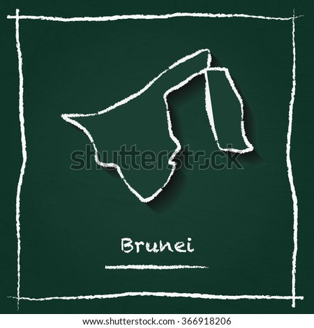Scribble vector map of Brunei hand drawn with chalk on a green blackboard. Chalkboard map drawing in childish style. White chalk texture on green background. - stock vector