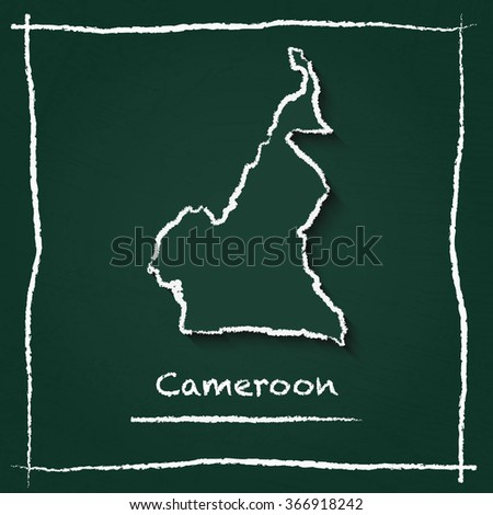 Scribble vector map of Cameroon hand drawn with chalk on a green blackboard. Chalkboard map drawing in childish style. White chalk texture on green background. - stock vector