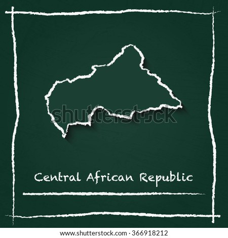 Scribble vector map of Central African Republic hand drawn with chalk on a green blackboard. Chalkboard map drawing in childish style. White chalk texture on green background. - stock vector