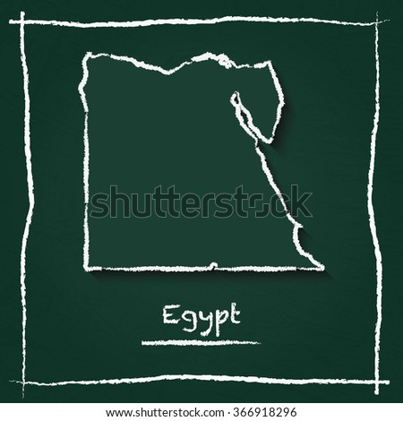 Scribble vector map of Egypt hand drawn with chalk on a green blackboard. Chalkboard map drawing in childish style. White chalk texture on green background. - stock vector
