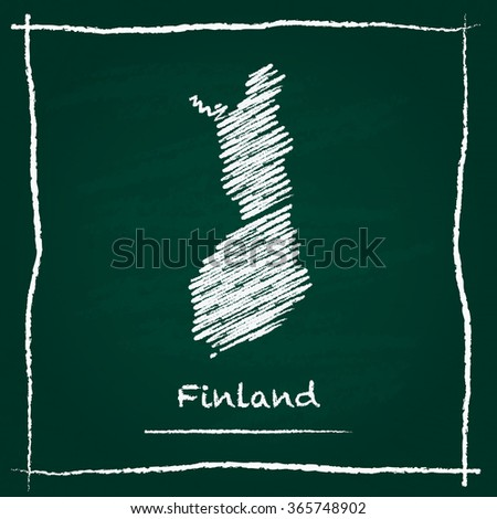 Scribble vector map of Finland hand drawn with chalk on a green blackboard. Chalkboard map drawing in childish style. White chalk texture on green background. - stock vector