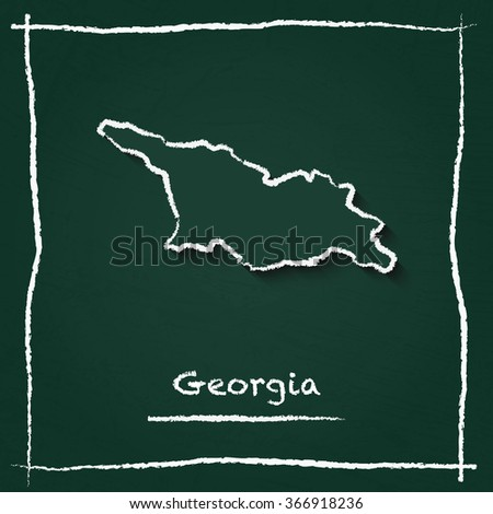 Scribble vector map of Georgia hand drawn with chalk on a green blackboard. Chalkboard map drawing in childish style. White chalk texture on green background. - stock vector