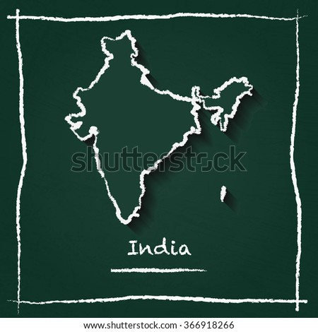 Scribble vector map of India hand drawn with chalk on a green blackboard. Chalkboard map drawing in childish style. White chalk texture on green background. - stock vector
