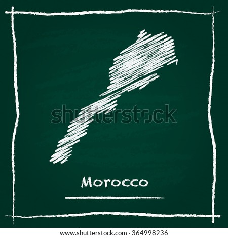 Scribble vector map of Morocco hand drawn with chalk on a green blackboard. Chalkboard map drawing in childish style. White chalk texture on green background. - stock vector