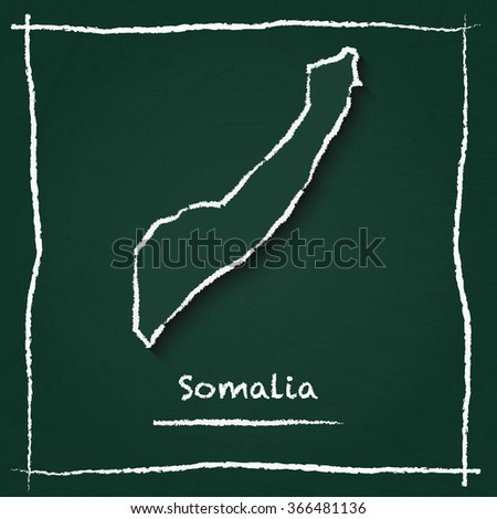 Scribble vector map of Somalia hand drawn with chalk on a green blackboard. Chalkboard map drawing in childish style. White chalk texture on green background. - stock vector
