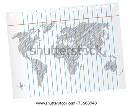 Scribble World Map on Notebook Paper - stock vector