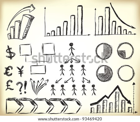 Scribbled Business Charts, diagrams and other elements for designs - stock vector