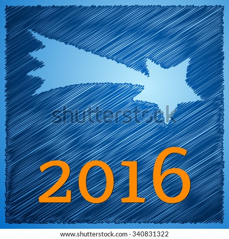 Scribbled christmas star happy new year card designed for the year 2016. Vector illustration. - stock vector