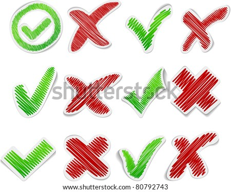 Scribbled collection of validation stickers. Vector EPS8. - stock vector
