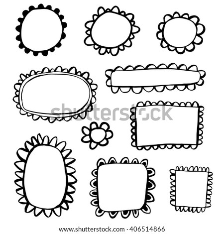 Scribbled hand drawn scalloped frames - stock vector