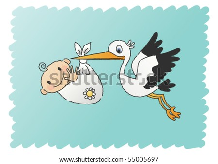 Scribbled, hand-drawn vector illustration of a happy baby carried by a stork. - stock vector