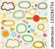 scribbled notebook page, labels, flowers, hearts - stock vector