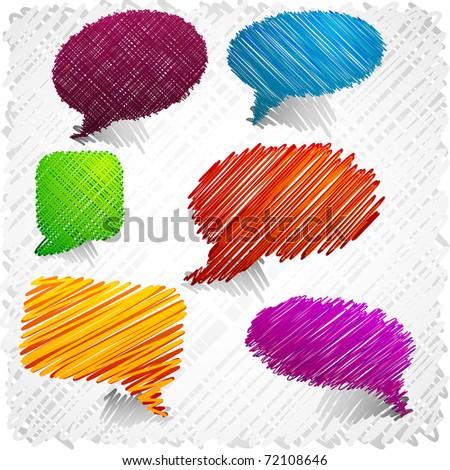 Scribbled speech shapes. - stock vector