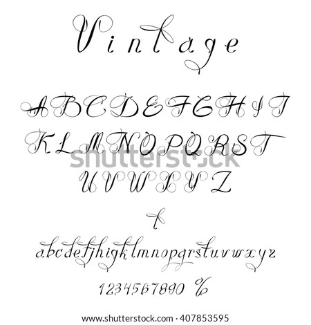 Script Font Vintage Style Font Can Stock Vector HD Royalty Free