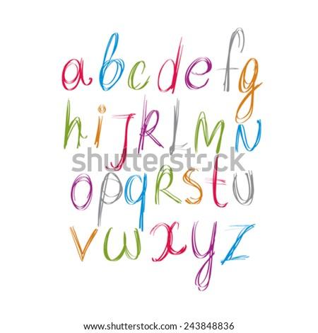 Script handwritten font vector, vector alphabet letters. - stock vector