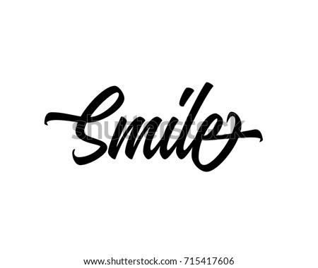 Script Word Art Text Design Vector For Smile